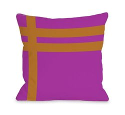 """Bentin Home Decor Meeting Stripes Outdoor Throw Pillow by OBC, 18""""x 18"""", Fuchsia/Orange"""