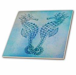 ct_79382_1 Aqua Seahorses Beach Theme Vintage Art Ceramic Tile, 4-Inch
