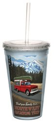 Tree-Free Greetings cc33176 Vintage Northwest Camping with Canoe by Paul A. Lanquist Artful Traveler Double-Walled Cool Cup with Straw, 16-Ounce