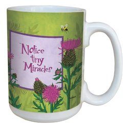 Tree-Free Greetings lm43483 Zen Thistle Miracles by Robin Pickens Ceramic Mug with Full-Sized Handle, 15-Ounce
