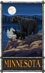 Northwest Art Mall Minnesota Bears Lake Moon Artwork by Paul A. Lanquist, 11-Inch by 17-Inch