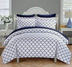 Chic Home 3 Piece Brooklyn Geometric Diamond Printed Reversible Duvet Cover Set, Queen, Navy