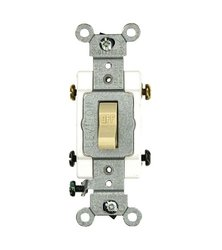 Leviton CSB2-15I 15 Amp, 120/277 Volt, Toggle Double-Pole AC Quiet Switch, Commercial Grade, Grounding, Ivory