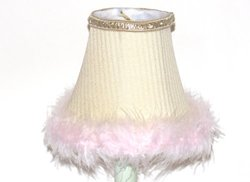 A Ray Of Light PKFUR Cream with White Offset Stripes Silk Chandelier Shade with Matching Self Trim and Faux Pink Fur Accent, 2-Set