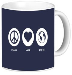 Rikki Knight Peace Love Earth Blue Color Photo Quality Ceramic Coffee Mug, 11-Ounce