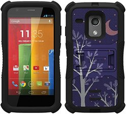 Beyond Cell Tri-Shield Durable Hybrid Hard Shell & Silicone Gel Case for Motorola Moto G XT1032 - Purple Night - Black/Black