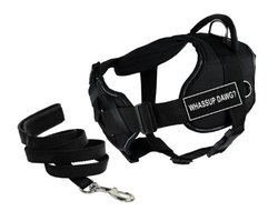 """Dean & Tyler's DT Fun Chest Support """"WHASSUP DAWG"""" Harness with Reflective Trim, Large, and 6 ft Padded Puppy Leash."""
