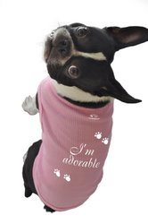 Ruff Ruff and Meow Dog Tank Top, I'm Adorable, Pink, Large