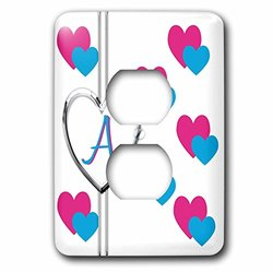lsp_215348_6 Fun Colorful Pink and Blue Hearts Pattern Monogram Letter A 2 Plug Outlet Cover