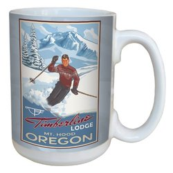 Tree-Free Greetings lm43172 Vintage Mount Hood Oregon Downhill Skiing by Paul A. Lanquist Ceramic Mug with Full-Sized Handle, 15-Ounce, Multicolored