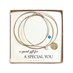 Cathy's Concepts Crystal and Pearl Gold Bangles, Monogram F, Caribbean Blue