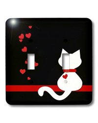 lsp_164792_2 Pet Lovers Red Hearts White Kitty Cat Double Toggle Switch