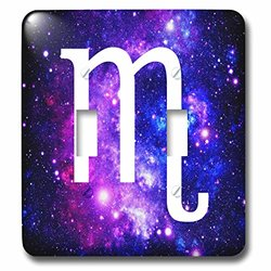 lsp_202166_2 Scorpio Star Sign on Purple Space Background - Zodiac Horoscope Symbol Double Toggle Switch