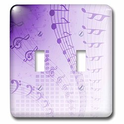 lsp_101607_2 Floating Musical Notes in Purple Double Toggle Switch