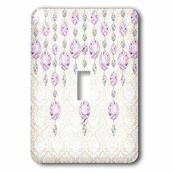 lsp_211113_1 Purple Sparkle Jewels Over A Light Damask Single Toggle Switch