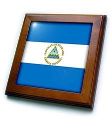 ft_31568_1 Nicaragua Flag-Framed Tile, 8 by 8-Inch