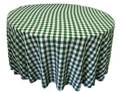 LA Linen Poly Checkered Round Tablecloth, 120-Inch, Green/White