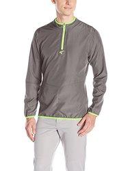 Easton Men's M5 Long Sleeve Cage Jacket, Graphite/Torq Green, Medium