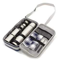 Greenfield Collection Luxury Flask Hamper Bag for 2-People - Midnight Blue