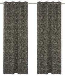LJ Home Fashions Branch Design Grommet Curtain Set -Taupe/Black - 52x95""