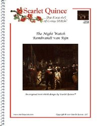 Scarlet Quince VRI001lg The Night Watch by Rembrandt van Rijn Counted Cross Stitch Chart, Large Size Symbols