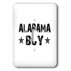 lsp_161562_1 Alabama Boy - Home State Pride - USA - United States of America - Black and White Text and Stars Single Toggle Switch