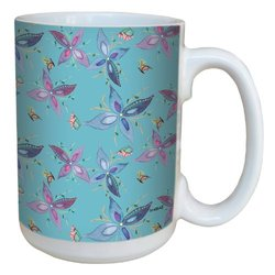 Tree-Free Greetings lm43642 Gorgeous Floral and Butterfly by Shell Rummel Ceramic Mug with Full-Sized Handle, 15-Ounce, Multicolored