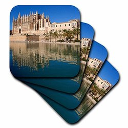 cst_206358_3 View of Moated Cathedral, Palma De Mallorca, Mallorca, Spain. Ceramic Tile Coasters, (Set of 4)