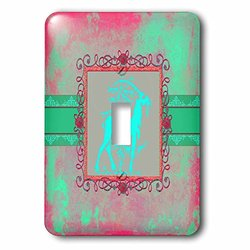 lsp_186413_1 Majestic Goat Next to Tree, Pewter Look Frame, Bright Green and Pink Single Toggle Switch