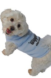 Ruff Ruff and Meow Dog Tank Top, Wiggle When I Walk, Blue, Medium
