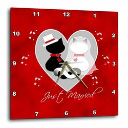 Red Marbled Just Married Black and Siamese Kitty Cats Wedding Couple - Wall Clock, 10 by 10-Inch (dpp_182652_1)
