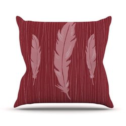 "Kess InHouse Jaidyn Erickson ""Feathers Red"" Outdoor Throw Pillow, 20 by 20-Inch"