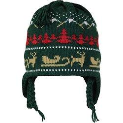 Vermont Originals Christmas Sled Wool Winter Hat - Dark Green