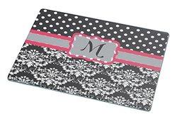 "Rikki Knight Initial ""M"" Grey Pink Black Damask Dots Large Glass Cutting Board Workspace Saver, 15.3 x 11.3-Inch"
