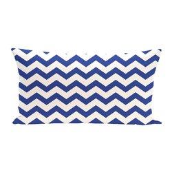 E By Design Chevron Decorative Outdoor Seat Cushion - Dazzling Blue