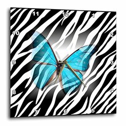 dpp_38928_1 Turquoise Butterfly on Zebra Wall Clock, 10 by 10-Inch