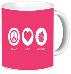 Rikki Knight Peace Love Cupcake Tropical Pink Color Photo Quality Ceramic Coffee Mug, 11-Ounce