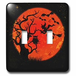 lsp_116520_2 Spooky Tree Under A Full Moon with Owl and Witch Halloween Vector Illustration Design Double Toggle Switch