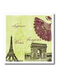 "ht_79112_3 Paris Elegance Vintage Art- Wine- Eiffel Tower Iron on Heat Transfer, 10 by 10"""