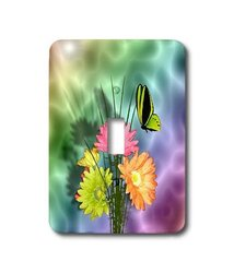 lsp_17831_1 Painted Daisy's and Butterflies - Single Toggle Switch