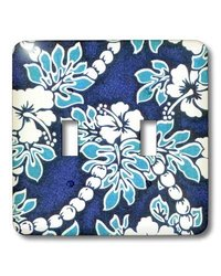 lsp_1063_2 Hibiscus Flower On Blue, Double Toggle Switch