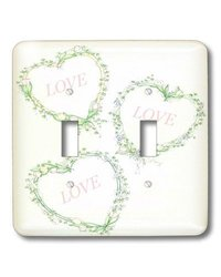 lsp_35016_2 Green Wreath Hearts with Pink Love - Double Toggle Switch