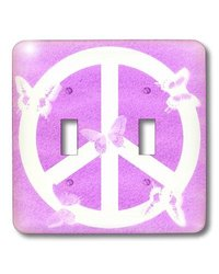 lsp_40235_2 Pink Sand Peace Sign Butterflies- Inspirational Art, Double Toggle Switch