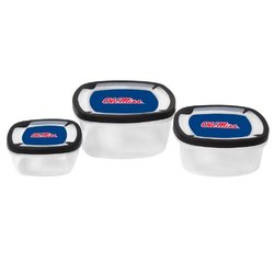 NCAA Ole Miss Rebels Nesting Square Container, 3-Piece, Clear