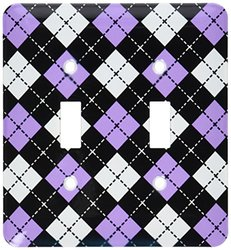 lsp_20417_2 Argyle Design Purple Black White Double Toggle Switch