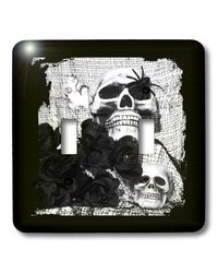 lsp_27282_2 Black and White Skulls Black and White Photo Double Toggle Switch