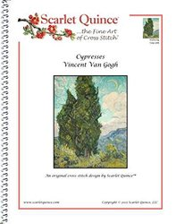 Scarlet Quince VGO025lg Cypresses by Vincent Van Gogh Counted Cross Stitch Chart, Large