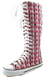 Daily Shoes Women's Knee High Punk Sneaker Boots - Pink/White - Size: 8