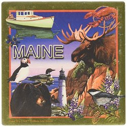 "CoasterStone SQ043 Absorbent Coasters, 4-1/4-Inch, ""Maine"", Set of 4"