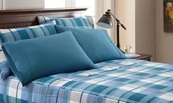 Spirit Linen 6-PC Palazzo Home Sheet Set - Blue Plaid - Size: Twin